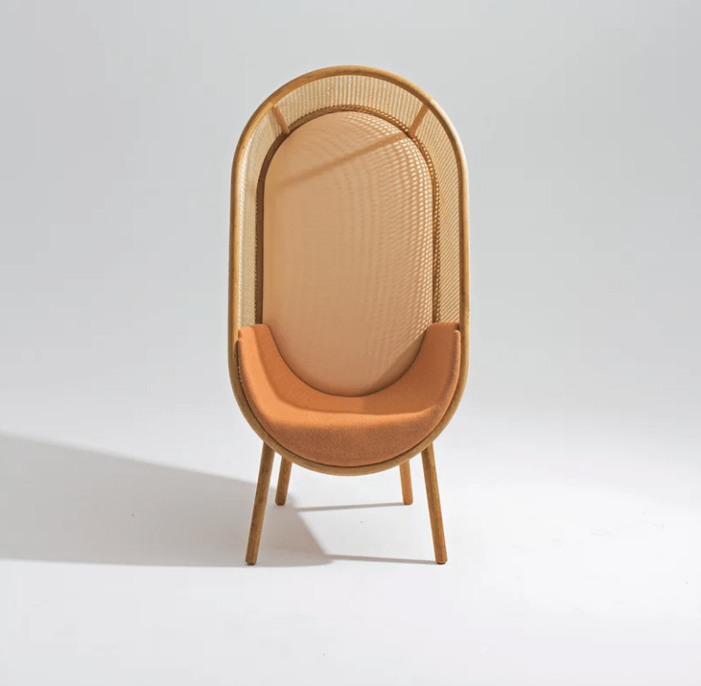 The chair is made of rattan and comfy upholstery, which is available in various colors