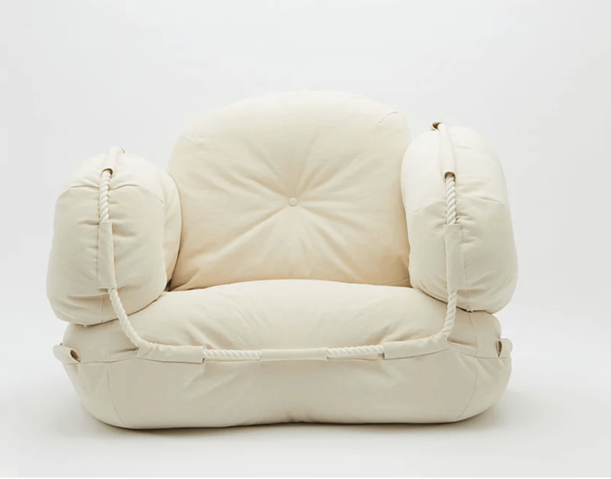 The furniture is soft and welcoming covered with canvas made by a Japanese brand