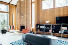 stylishly clad fireplace