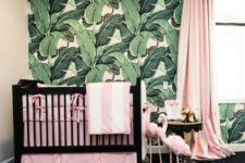 tropical statement wall for a nursery