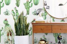 02 add a whimsy touch with cactus print wallpaper, it can be removable if you are renting