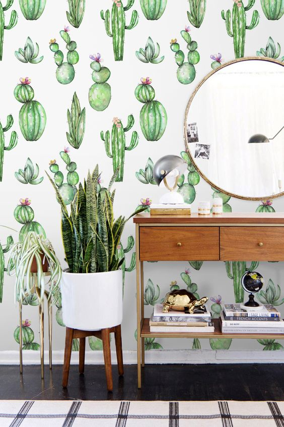 add a whimsy touch with cactus print wallpaper, it can be removable if you are renting