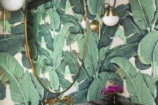 retro palm leaf wallpaper