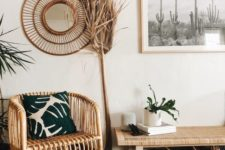 03 a boho desert entryway with rattan furniture, cacti artworks, potted plants and grasses