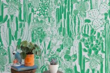 03 a super bold statement wall done with green and white cactus wallpaper