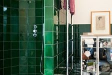 03 glossy emerald tiles to highlight the shower zone add a colorful touch and make the look bolder
