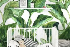 04 a cool nursery with a banana leaf print wall and all the rest done in black and white for a contrast