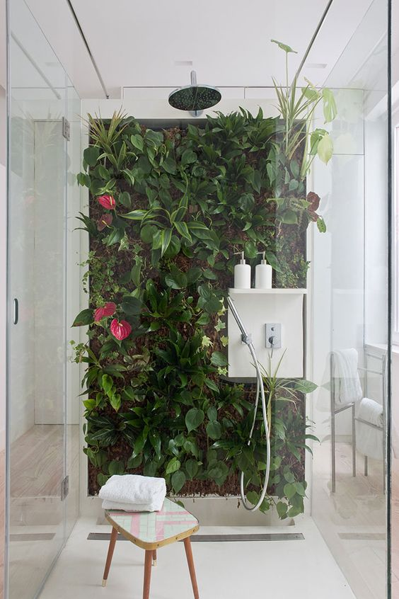 a real living wall in the shower is a fresh and vivacious idea and you'll feel like outdoors while having a shower