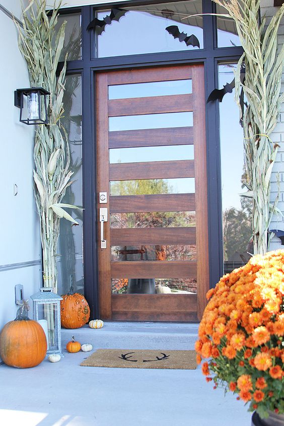 a wood and mirror front door looks modern yet very welcoming, what a gorgeous solution