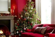04 such deep shades of red are amazing for a living room, it's bold and warming up, amazing for any season