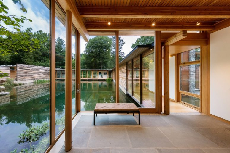 Extensive glazing was used to let the owners enjoy the peaceful views of the pond