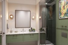 05 a muted green wall and a sink vanity create a chic combo with terrazzo and makes the space comforting