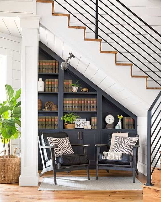 a vintage graphite grey bookcase, lamps and comfy chairs for creating a cozy reading nook