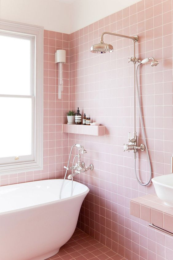 25 ways to incorporate pink into bathroom decor digsdigs for Warm feel bathroom floor tiles