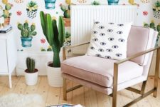 05 quirky and whimsy cactus print wallpaper for a boho chic living room, cacti in pots highlight it
