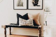 06 a boho rug, a woven bench and cacti artworks for a desert boho feel
