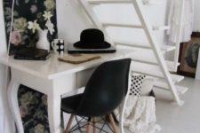 feminine home office under stairs