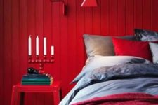 06 a red bedroom is a very passionate space, it looks very sexy