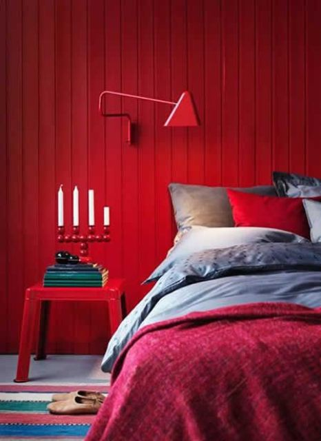 a red bedroom is a very passionate space, it looks very sexy