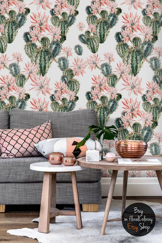 make your boho chic space more interesting with cacti wallpaper in green and pink