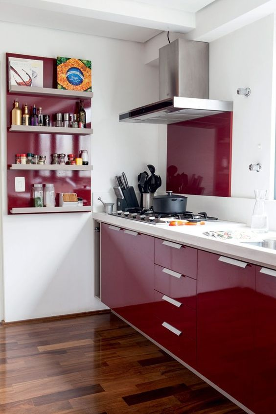 red is great for a kitchen but dilute it with white for a contrast or just avoid it if you are watching your weight