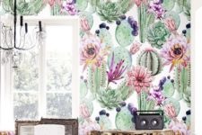 07 super colorful and creative adhesive wallpaper in green and some bold touches will make your space wow