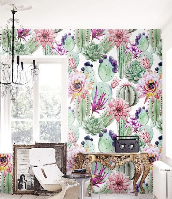 super colorful and creative adhesive wallpaper in green and some bold touches will make your space wow