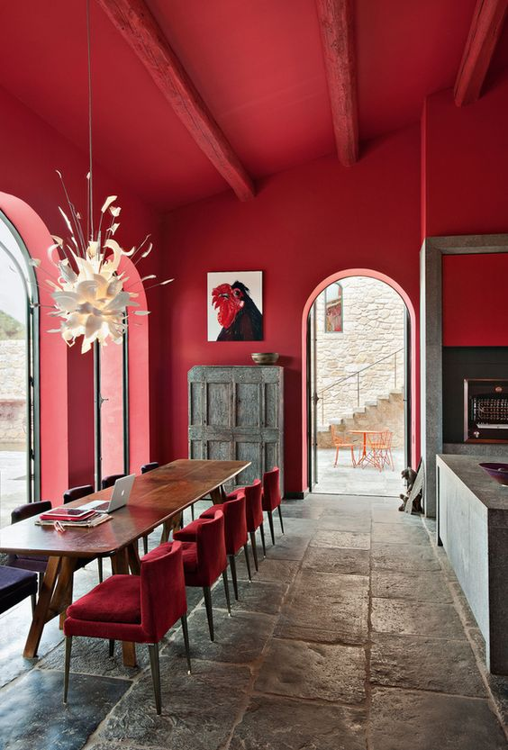 a dining space will profit from red, especially if guests often come, but avoid it for the weight reason