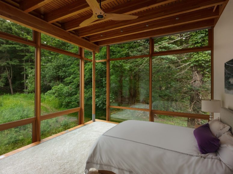 All the bedrooms have amazing views of the forest and pond