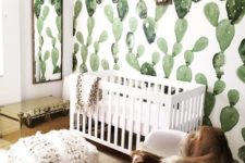 09 cactus print wallpaper is an amazing idea for a boho or desert-inspired nursery