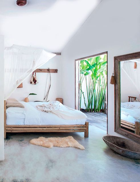 make the bedroom more interesting with textures like wood, bamboo and other materials