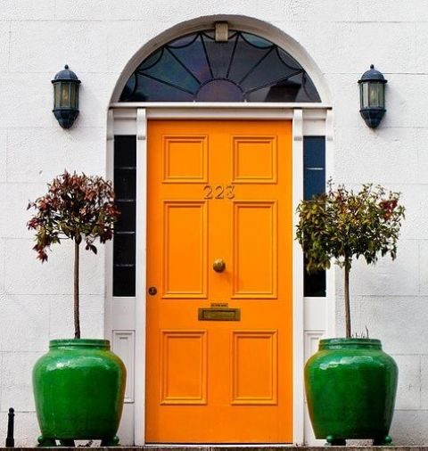 paint the door orange and add a couple of bright green pots to personalize the entrance