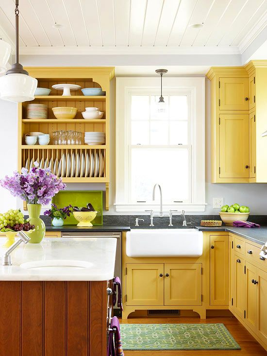 yellow is great for a kitchen as it's energetic and bright and creates a feeling of sunlight