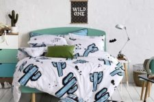 cute teenage bedroom with cacti-inspired bedding