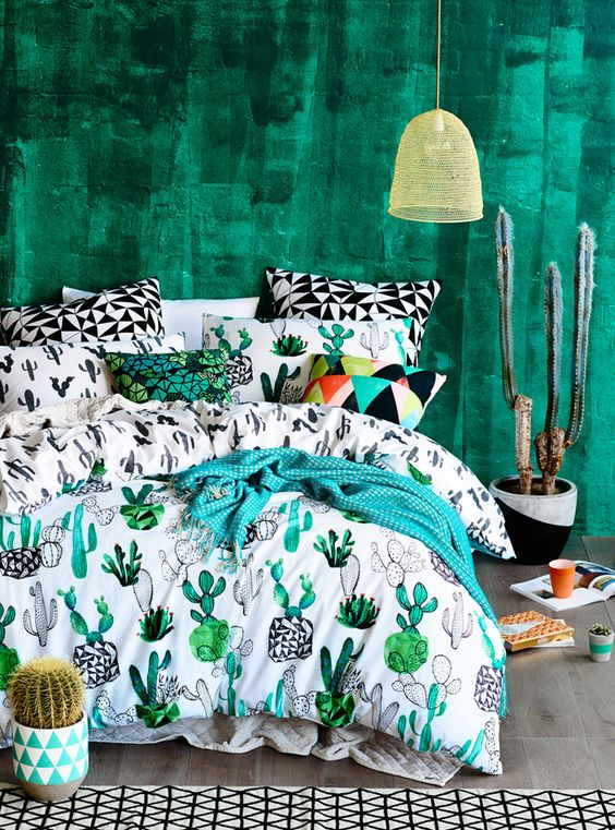 colorful and fun cactus print bedding is a gorgeous idea for adding a summer feel to your space