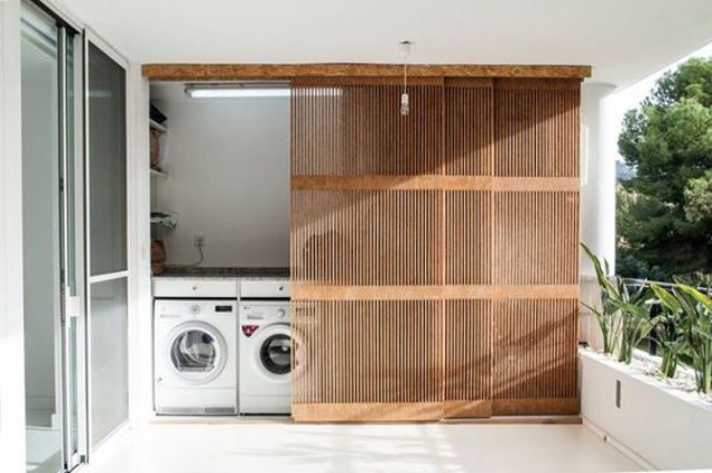hide your home laundry with wood lettice screens for an airy and relaxed look yet less clutter