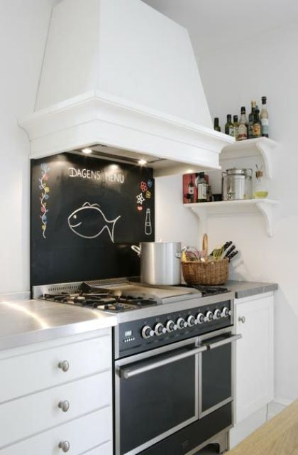 a small chalkboard backsplash over the cooker to fit the cooker design and highlight the space