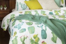 12 cactus print bedding with mustard touches and a matching pillow will make your bedroom more boho-like