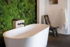 12 if you can allow that, go for a living moss wall in the bathtub zone, and your bathing experience will be spa-like