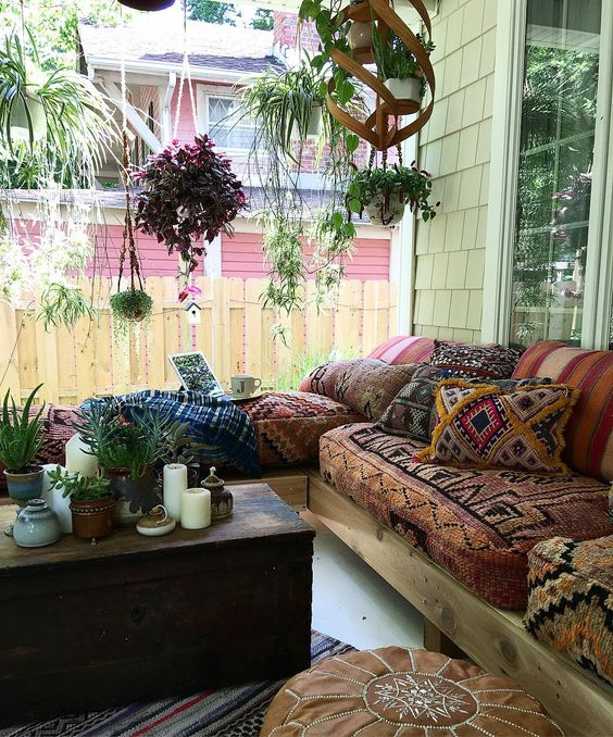 A Boho Gypsy Porch With A Wooden Chest As A Side Table, A Whole Hanging