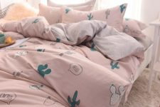 14 a pink bedding set with fun cactus prints is a dreamy idea that makes your space welcoming