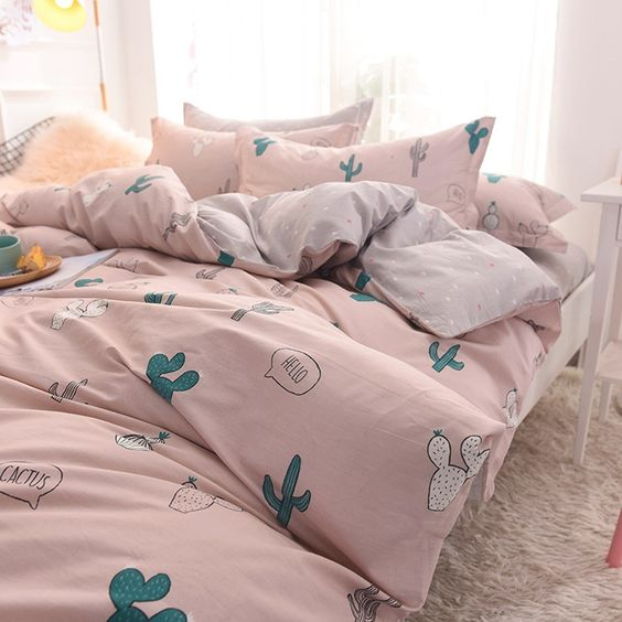 a pink bedding set with fun cactus prints is a dreamy idea that makes your space welcoming