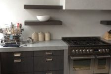 14 light-colored creamy concrete countertops and a backsplash for a contrast with dark stained cabinets