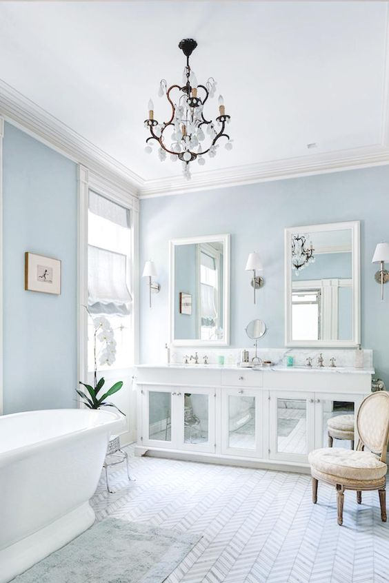 serene light blues are great for a bathroom, comfort is right what you need there