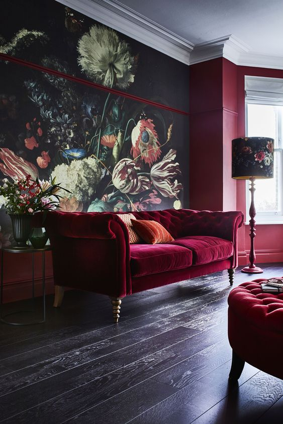 a gorgeous moody floral wall mural makes this space refined and chic