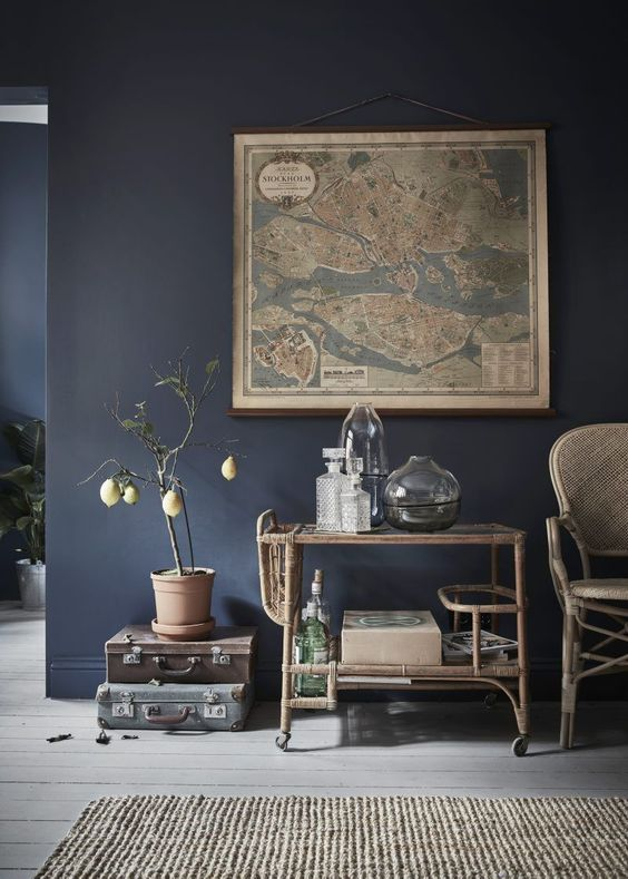 if you are going for dark and cold blue shades, add warm touches to create harmony