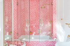 17 bold pink printed tiles for accenting the shower zone and creating an ultimate glam look