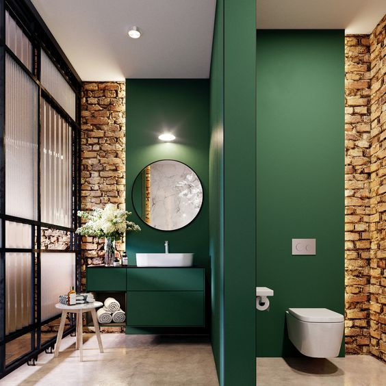 green is relaxing and reminds of nature, so it's great for a bathroom