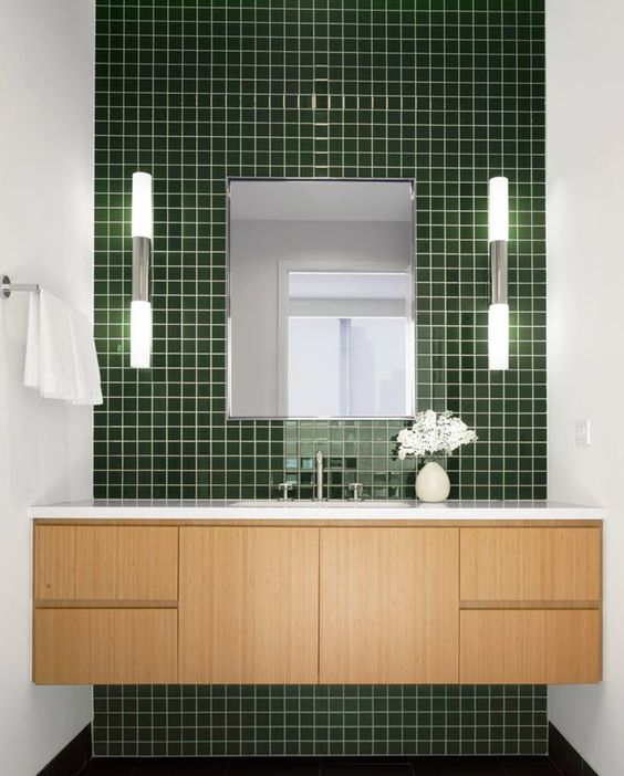 highlight the sink zone with a glossy green tile wall, it's a beautiful way to add color and a relaxing feel to the space