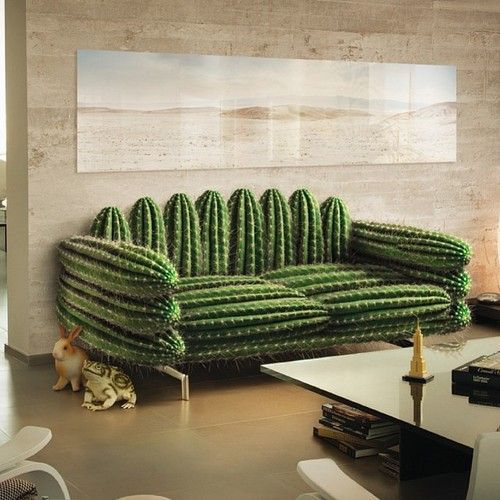 a fun cactus-inspired sofa looks very natural yet it's soft and very comfortable
